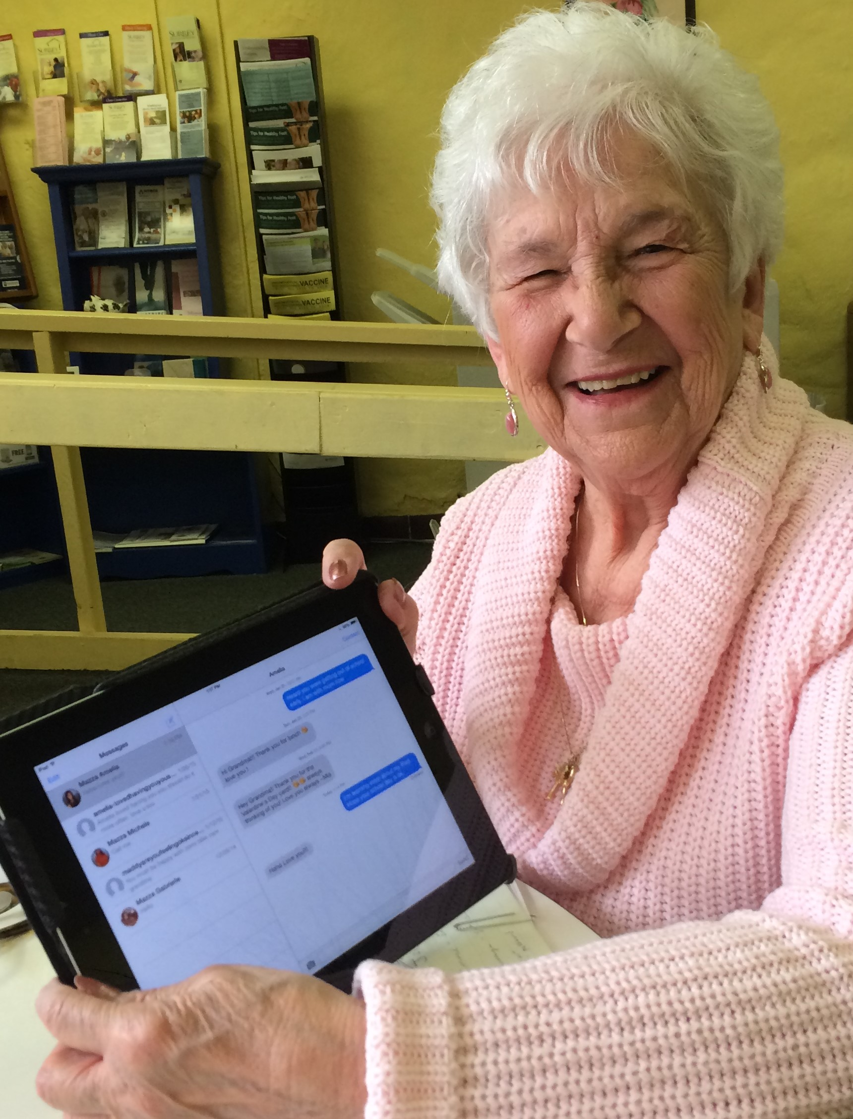 Josie Fletcher at Surrey Senior Center sending her first text to her granddaughter! - Copy